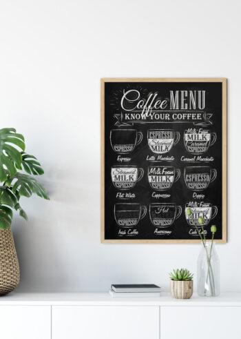 Plakat czarno biały do kuchni: Coffee Menu