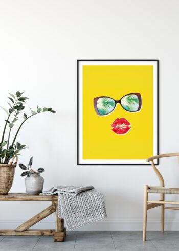 Plakat do salonu przedstawiający czerwone usta