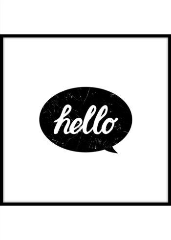 Hello - czarno biały plakat z napisem