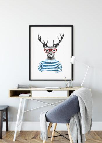 Plakat do salonu na ścianę - Jeleń Hipster