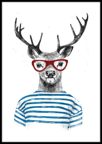 Jeleń hipster - plakaty do salonu na ścianę
