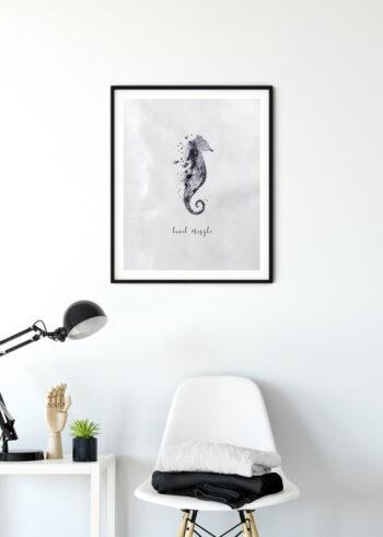 Czarno biały plakat do sypialni - Konik Morski