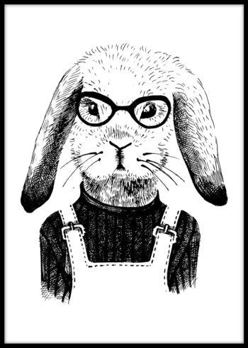 Plakat czarno biały - Królik Hipster