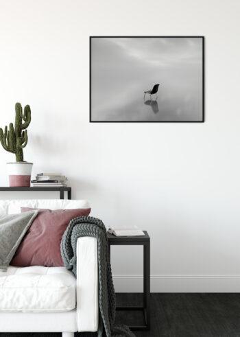 Plakat czarno biały do salonu - Krzesło We Mgle