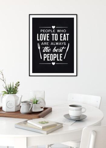 """Kuchenny plakat z napisem - """"Love to Eat"""""""