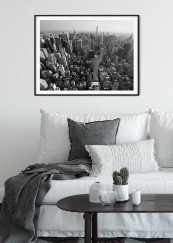 Plakat czarno biały: Nowy Jork z Lotu Ptaka