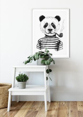Plakaty czarno białe: Panda Hipster z fajką