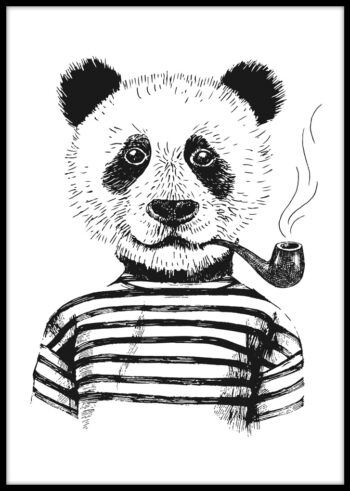 Panda Hipster - plakaty czarno białe