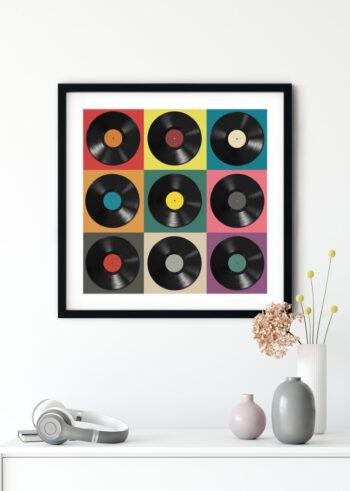 Plakaty do salonu z płytami winylowymi Pop Art