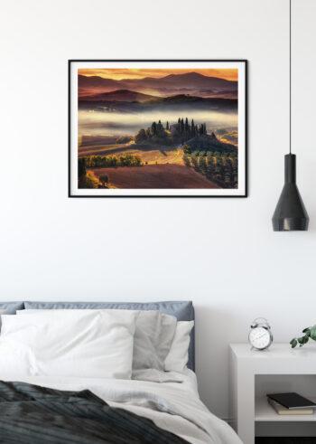 Plakat do salonu przedstawiający malowniczą Toskanię we Włoszech