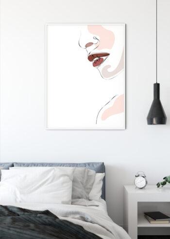 Plakat do salonu przedstawiającu usta kobiety