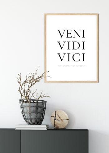 """Czarno biały plakat motywacyjny: """"Veni Vidi Vici"""""""