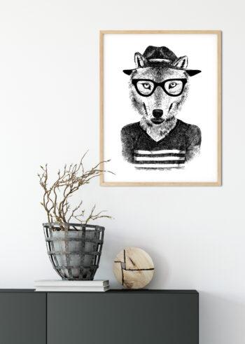 Wilk Hipster na czarno białym plakacie