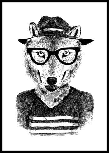 Wilk Hipster - plakat czarno biały