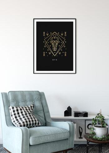 Byk znak zodiaku - ścianne plakaty do salonu