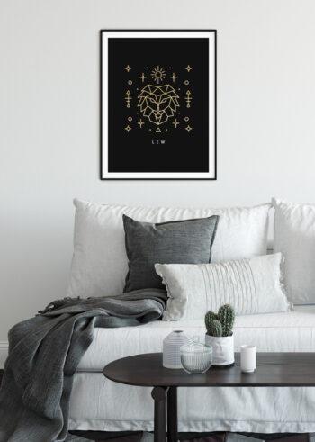 Znak zodiaku Lew - plakat do salonu na ścianę