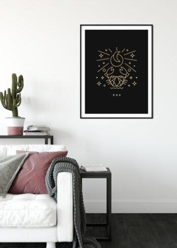 Rak - znak zodiaku na plakcie do salonu