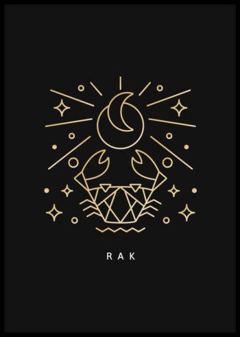 Plakat do sypialni z ilustracją znaku zodiaku - rak