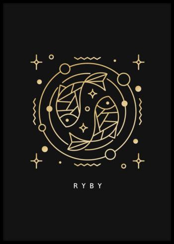 Plakat do sypialni: znak zodiaku ryby