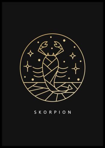 Plakat do sypialni przedstawiający znak zodiaku skorpion