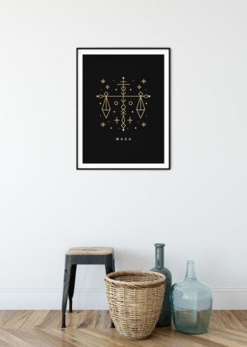 Plakat do salonu przedstawiający znak zodiaku - Waga