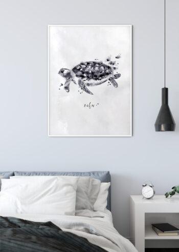 Czarno białe plakaty do sypialni: Żółw