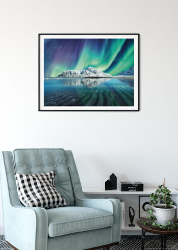 Plakat do salonu przedstawiający Zorze Polarną