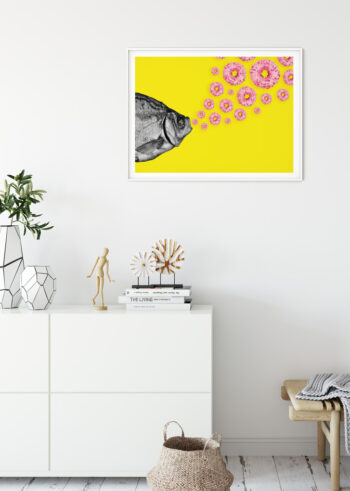 Plakat do salonu z różowymi donutami