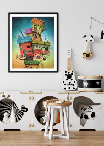 Szalone domki - plakaty dla dzieci