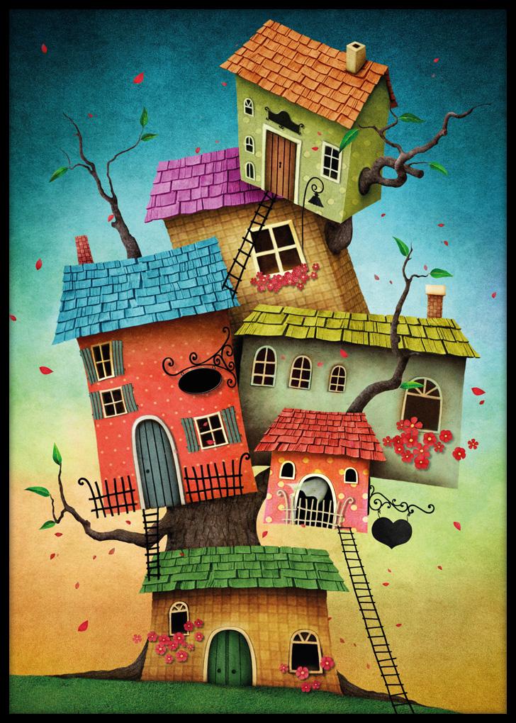 """Plakat do pokoju dziecka przedstawiający obrazek """"Szalone domki"""""""